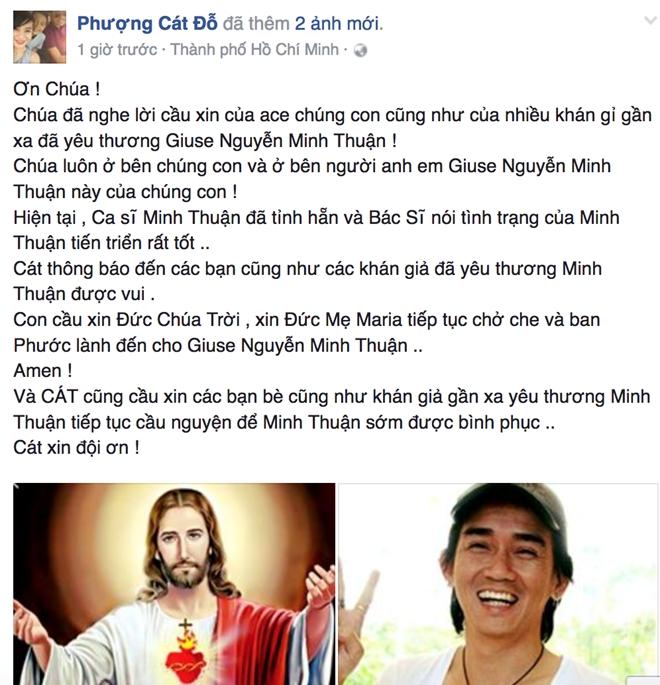 Dòng trạng thái cập nhật tình trạng sức khỏe Minh Thuận của Cát Phượng. Ảnh: FB Phượng Cát Đỗ.