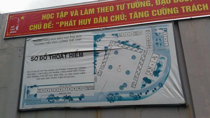Sơ đồ lớp 1/8 trường tiểu học Lương Thế Vinh, quận Thủ Đức, TP HCM.(Ảnh Phapluatplus.vn).