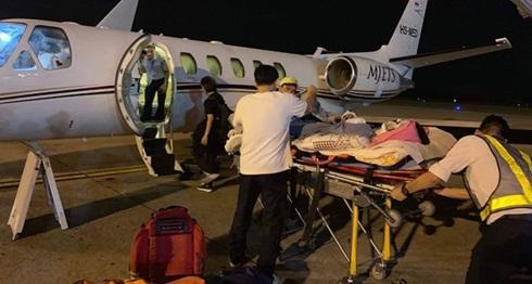 Anh Nghiêm được chuyển ra nước ngoài điều trị bằng chuyên cơ của một hãng bảo hiểm ở Canada. (Ảnh trích nguồn internet).