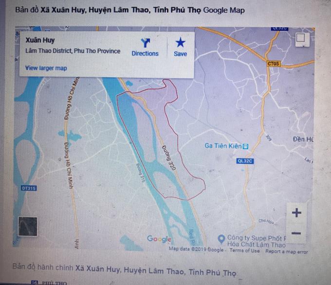 Bản đồ xã Xuân Huy.