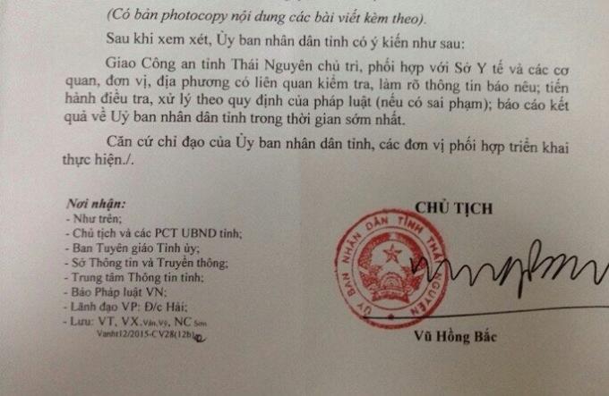 Văn bản chỉ đạo của UBND tỉnh Thái Nguyên