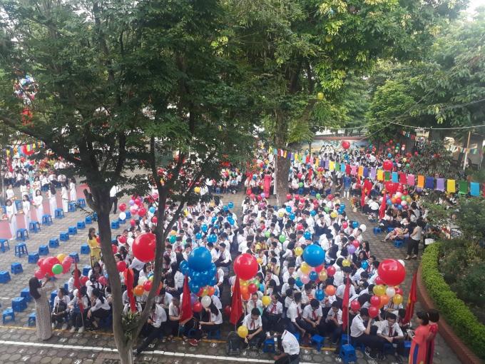 Buổi khai giảng tại trường THCS Giảng Võ (Ba Đình - Hà Nội). Ảnh: phapluatplus.vn