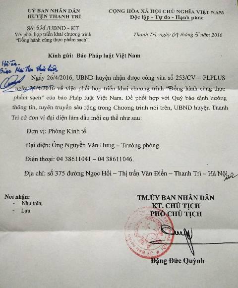Công văn phúc đáp của UBND huyện Thanh Trì.