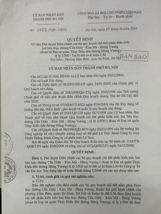 Quyết định 2452 của UBND TP Hà Nội.