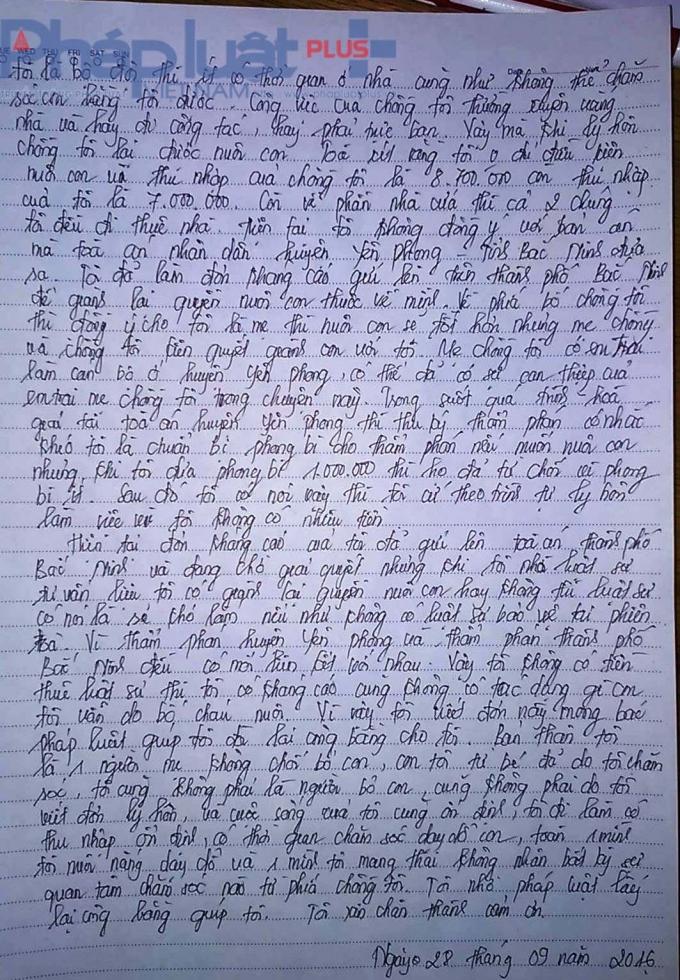 Tâm thư chị Nhung gửiđến Phapluatplus.vn.