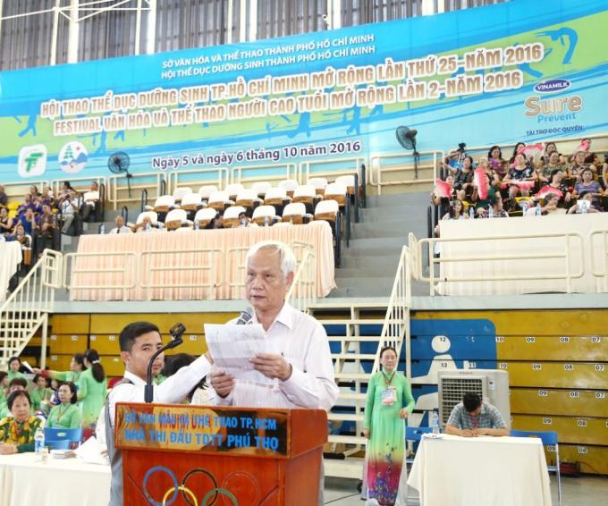 Ông Nguyễn Đức Nhung – đại diện Hội Người Cao Tuổi TP.HCM phát biểu tại sự kiện.
