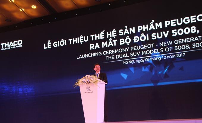Ông Trần Bá Dương - Chủ tịch THACO phát biểu trong buổi lễ ra mắt 2 mẫu xe Peugeot mới.