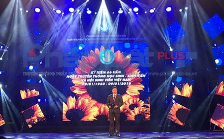 Ông Lê Quốc Phong -Chủ tịch Hội Sinh viên Việt Nam trong buổi trao Danh hiêu. Ảnh: Loan Bảo.