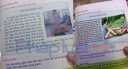 Nội dung và hình ảnh 2 thanh niên mặc áo kẻ caro cưa bom không khác so với nội dung cuốn sách dạy trẻ em đi trên thủy tinh đã thu hồi. Ảnh: Nguyễn Bảo.