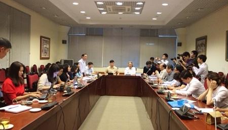 Buổi họp báo của Học viện Khoa học xã hội về những vấn đề liên quan đến đào tạo tiến sĩ của học viện. Ảnh: Lê Văn.