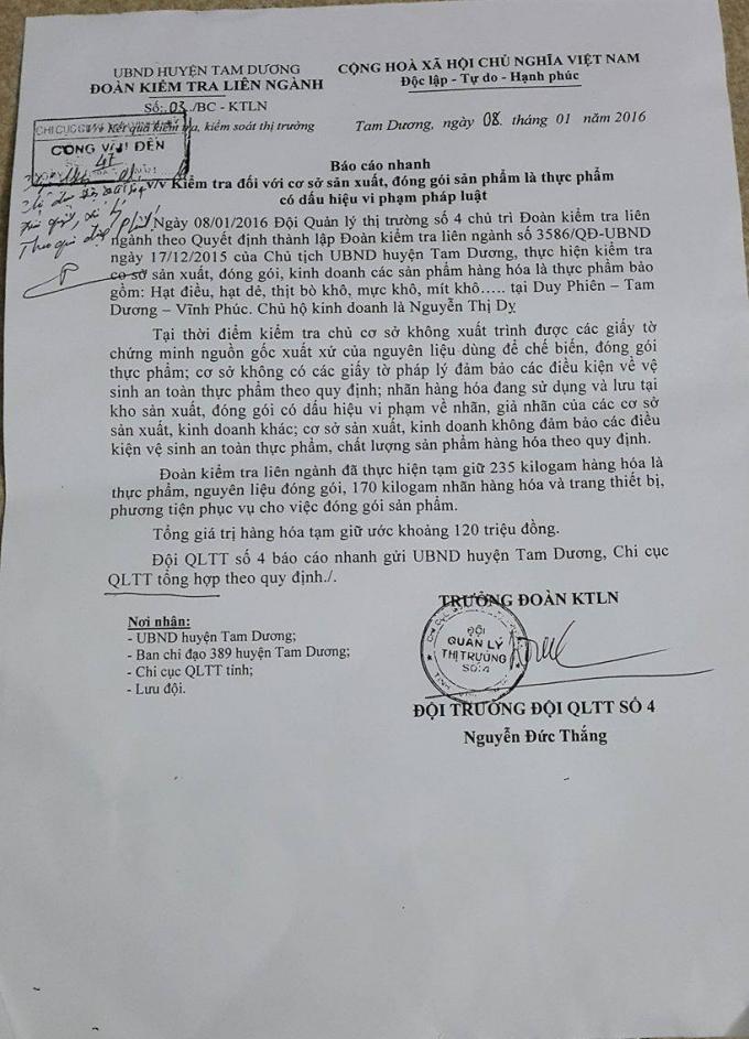 Báo cáo về vi phạm đóng gói nhãn mác, ngày 8/1/2016 tại Tam Dương, Vĩnh Phúc.(ảnh: Mộc MIên).