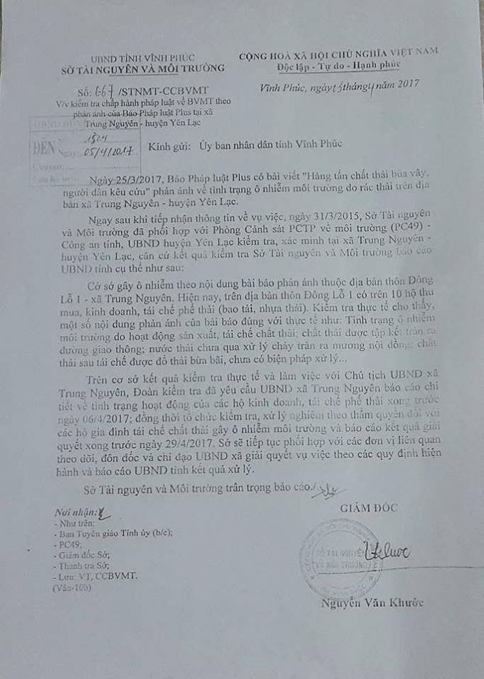 Văn bản số 667 của Sở TNMT Vĩnh Phúc về việc kiểm tra chấp hành BVMT theo phản ánh của Pháp Luật Plus.