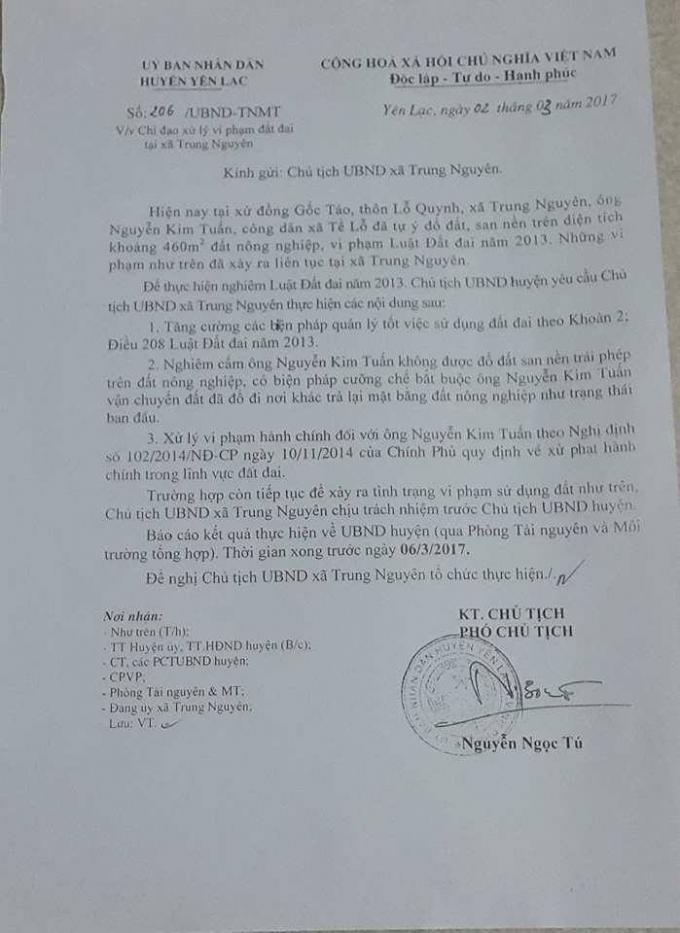 Văn bản số 206 của UBND huyện Yến Lạc gửi chủ tịch UBND xã Trung Nguyên về việc chỉ đạo xử lý vi phạm đất đai tại xã Trung Nguyên