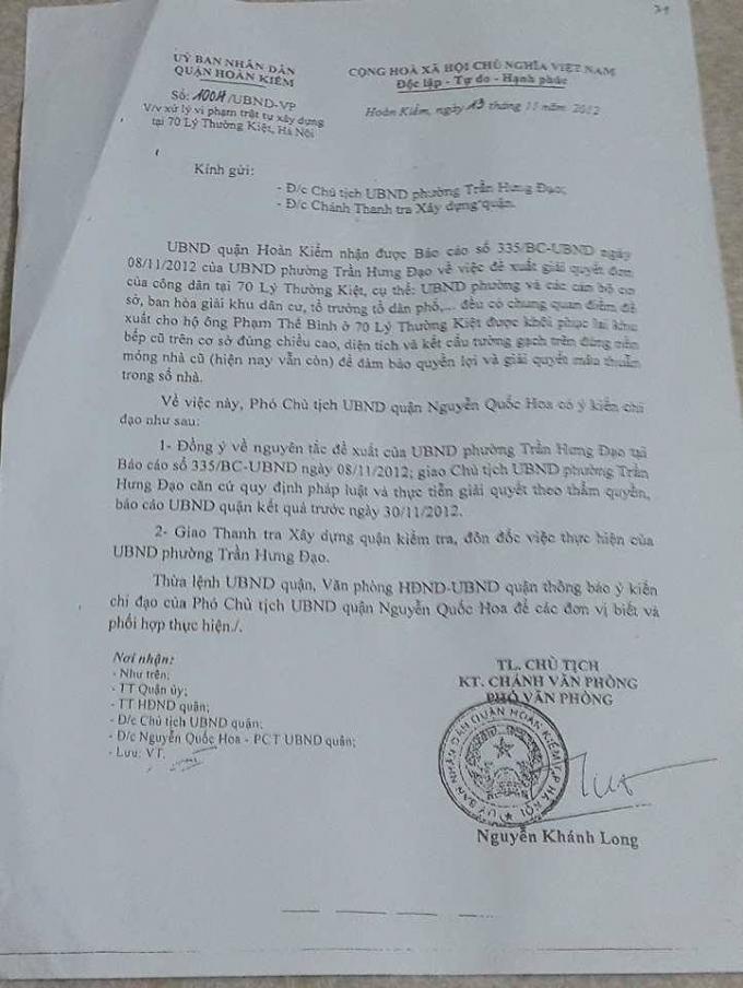 Văn bản số 1004 của UBND Quận Hoàn Kiếm về việc xử lý vi phạm trật tự xây dựng tại 70 Lý Thường Kiệt.