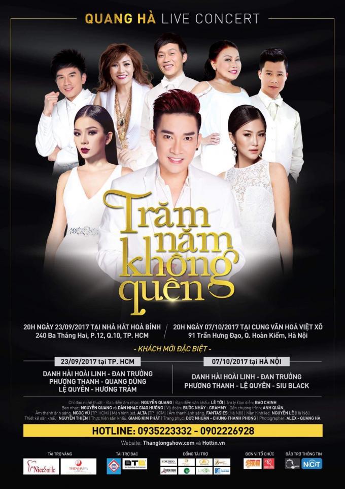 """Live show concert với tên gọi """"trăm năm không quên"""" của ca sĩ Quang Hà"""