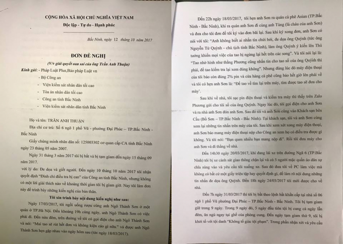 Đơn của Trần Anh Thuận gửi tòa soạn Pháp Luật Plus