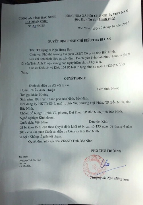 Quyết định đình chỉ điều tra bị can của Công an tỉnh Bắc Ninh.