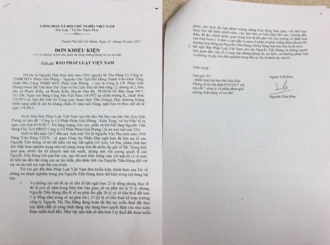 Đơn của ông Nguyễn Thái Hòa gửi đến Tòa soạn Pháp luật Plus.