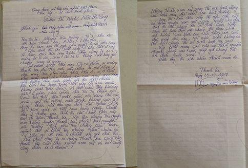Đơn thư của gia đình ông Nguyễn Văn Hương gửi lên tòa soạn Pháp luật Plus.