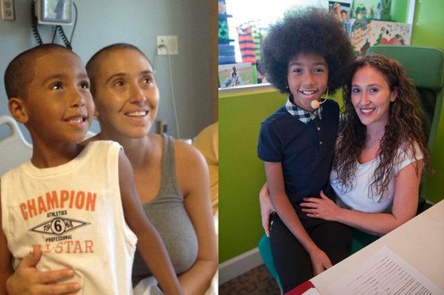 Thầy giáo yoga 11 tuổi Tabay Atkins và mẹ (khi bị bệnh ung thư và sau khi khỏi bệnh). (Ảnh: The Orange County Register)