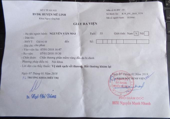 Giấy ra viện của ông Mai được BV Đa khoa huyện Mê Linh cấp sau khi điều trị tại bệnh viện.