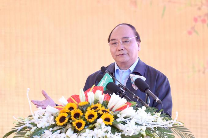 Thủ tướng Nguyễn Xuân Phúc phát biểu tại lễ khởi động.