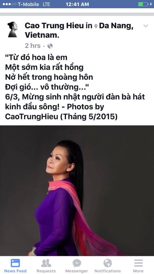 Những dòng chia sẻ của đạo diễn Cao Trung Hiếu gửi tới danh ca Khánh Ly nhân sinh nhật lần thứ 71 của bà.
