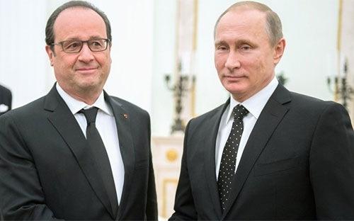 Tổng thống Nga Vladimir Putin vàTổng thống Pháp Francois Hollande