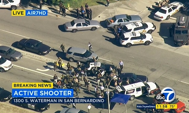 Hiện trường của vụ nổ súng ở San Bernardino, California. (ẢNh: ABC)