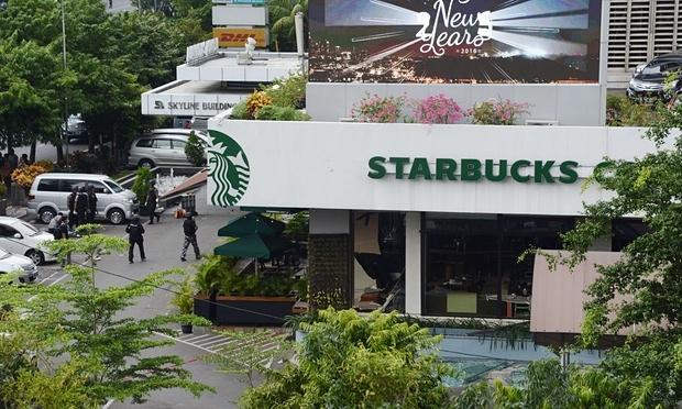 Quán cà phê nơi xảy ra vụ đánh bom và đấu súng. (Ảnh: AFP)