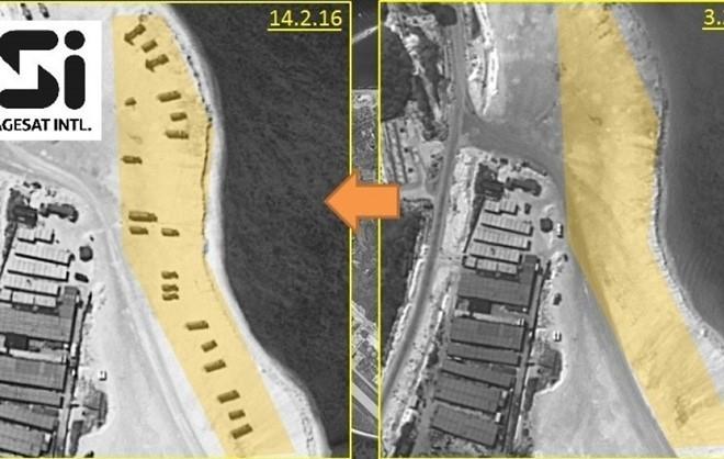 Hình ảnh đảo Phú Lâm từ vệ tinh do ImageSat International N.V cung cấp ngày 18/2. (Ảnh: Reuters)