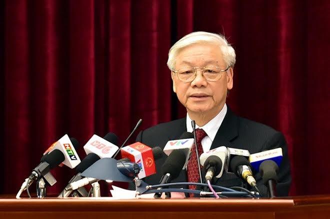 lTổng Bí thư Nguyễn Phú Trọng phát biểu bế mạc phiên họp.