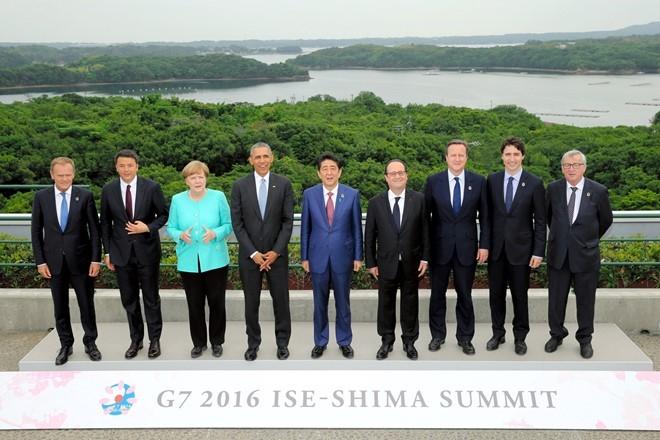 Lãnh đạo các nước G7 chụp ảnh sau khi ra tuyên bố chung của hội nghị. (Ảnh:Reuters)