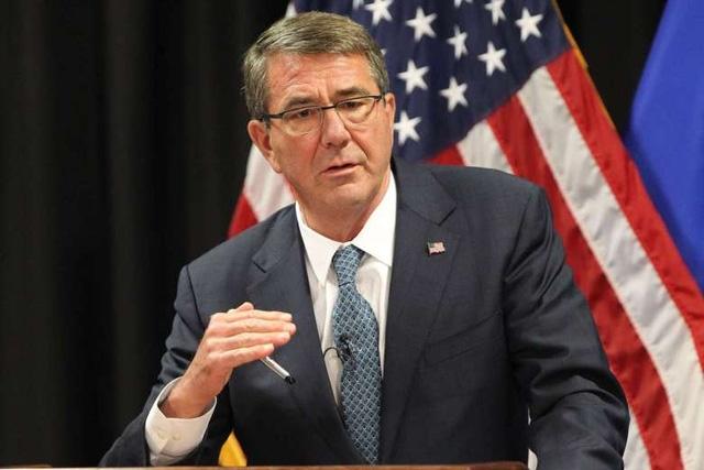 Bộ trưởng Quốc phòng Mỹ Ash Carter đã lên tiếng rất mạnh mẽ về các động thái quân sự của Trung Quốc ở Biển Đông. (Ảnh: AFP)