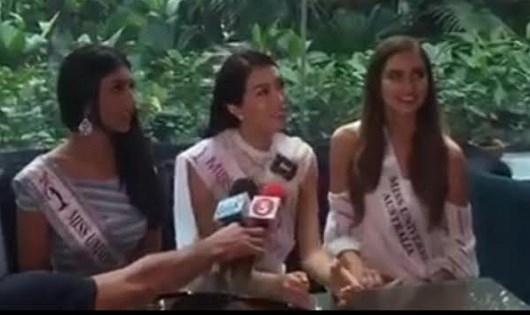 Á hậu Lệ Hằng lúng túng đề nghị trả lời bằng tiếng Việt cho câu hỏi tiếng Anh trước thềm cuộc thi Hoa hậu Hoàn vũ thế giới 2016.