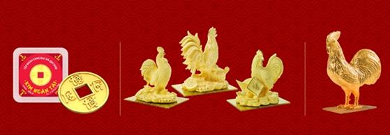Ngoàiđồng vàng 999.9 Kim Dậu – sản phẩm vốn đã nổi tiếng qua ngày Thần Tài của các năm, DOJI còn tung ra thị trường nhiều sản phẩm độc đáo, đẹp mắt như:sản phẩm Kim Ngân Tài 1-2 chỉ; Gà vàng mỹ nghệ đúc rỗng công nghệ Nano đặc biệt với lớp ngoài hoàn toàn bằng vàng 999.9; Gà vàng mỹ nghệ nguyên khối 1 đến 5 lượng.