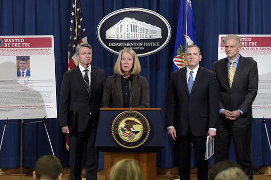 Bộ Tư pháp Mỹ công bố thông tin về vụ điệp viên Nga tấn công mạng Yahoo. (Ảnh: CNBC)