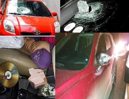 Chiếc xe của anh Trần Trung Ngọc bị thủng một lỗ lớn trên kính chắn gió do bị ném đá trên cao tốc Hà Nội – Thái Nguyên.