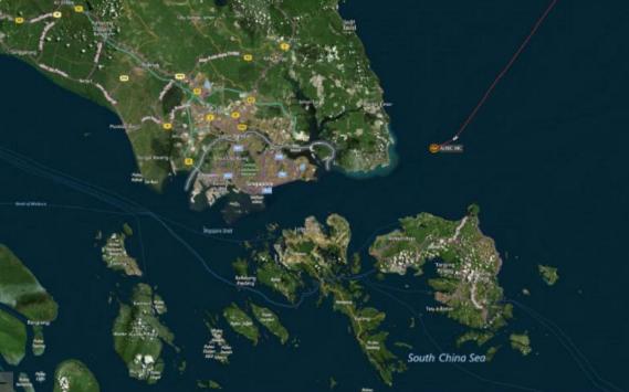 Khu vực xảy ra va chạm giữa hai tàu.