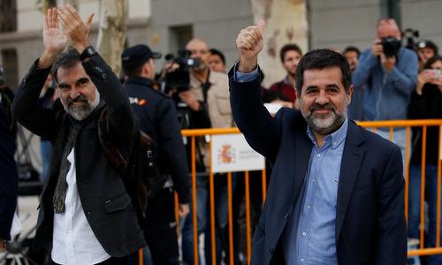 Ông Jordi Cuixart và Jordi Sanchez. (Ảnh:Reuters).