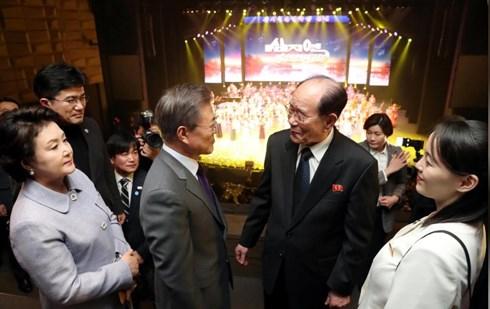 Tổng thống Hàn Quốc gặp Chủ tịch Đoàn Chủ tịch hội đồng nhân dân tối cao (Quốc hội) Triều Tiên ông Kim Yong-nam và em gái, đặc phái viên của nhà lãnh đạo Triều Tiên, bà Kim Yo Jong. Ảnh: Reuters