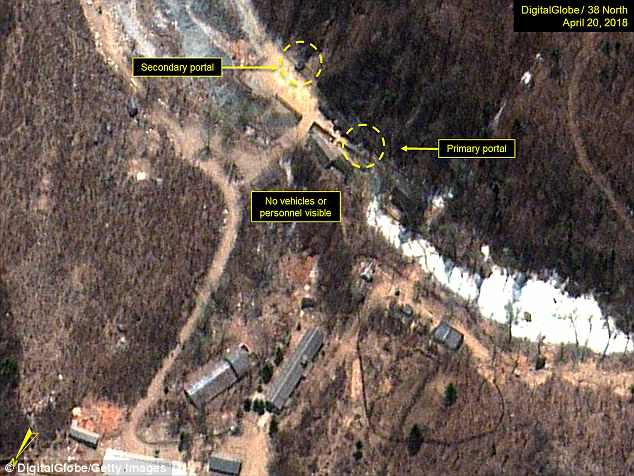 Triều Tiên được cho là đã bắt đầu rút cáp tại các đường hầm ở bãi thử hạt nhân Punggye-ri. (Ảnh: Getty)
