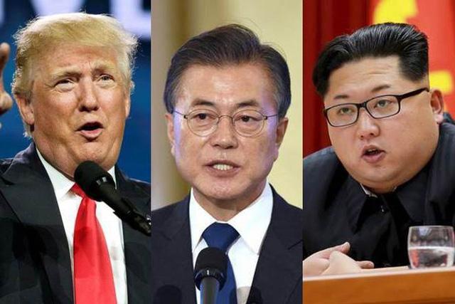Từ trái qua phải: Tổng thống Donald Trump, Tổng thống Moon Jae-in, nhà lãnh đạo Kim Jong-un (Ảnh: Reuters)