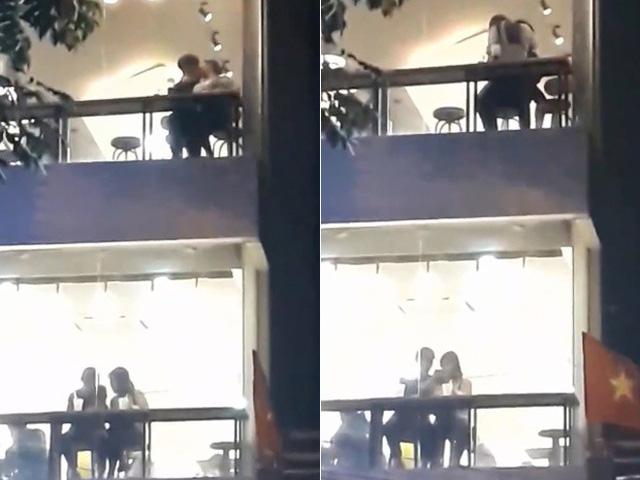 Cặp đôi ôm hôn nhau mãnh liệt tại quán trà sữa