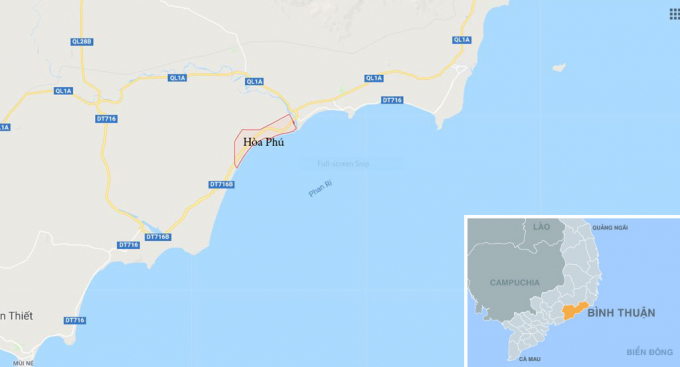 Xã Hòa Phú (màu hồng), nơi Công ty Dương Đông Hòa Phú nhập lậu hàng trăm triệu lít xăng dầu. Ảnh:Google Maps.