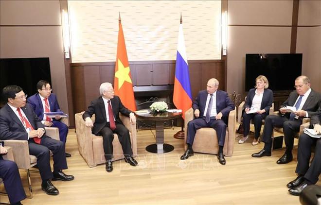 Tổng bí thư Nguyễn Phú Trọng hội đàm cùng Tổng thống Nga Putin. Ảnh:TTXVN.