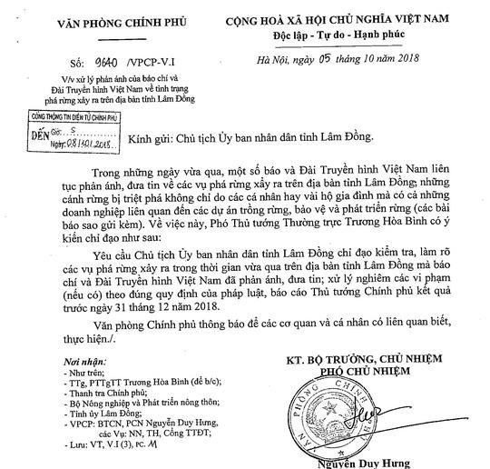 Văn bản yêu cầu tỉnh Lâm Đồng điều tra làm rõ và xử lý nghiêm.