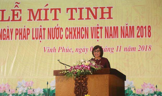 Thứ trưởng Đặng Hoàng Oanh phát biểu tại Lễ mít tinh.
