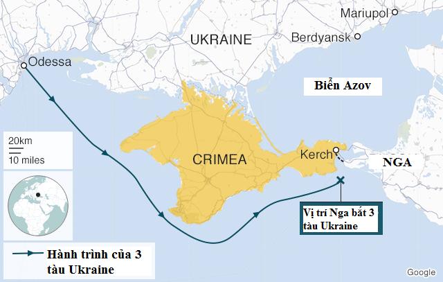 Bản đồ vị trí eo biển Kerch nổi biển Đen và biển Azov - nơi Nga bắt ba tàu chiến Ukraine (Ảnh: BBC)