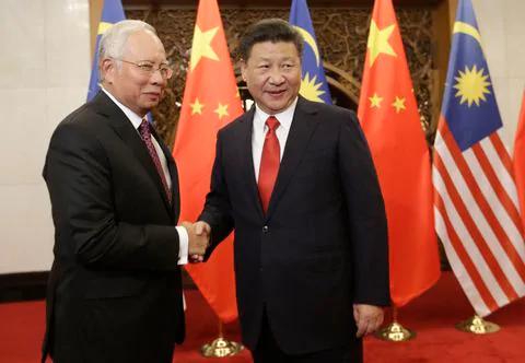 Thủ tướng Malaysia Najib Razak gặp Chủ tịch Trung Quốc Tập Cận Bình hồi năm 2016. (Nguồn: Jason Lee / AFP / Getty Images)